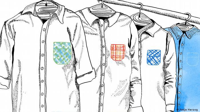 Sprichwörter Illustrationsprojekt Teil 3: Hemden hängen an einer Stange (Antje Herzog)
