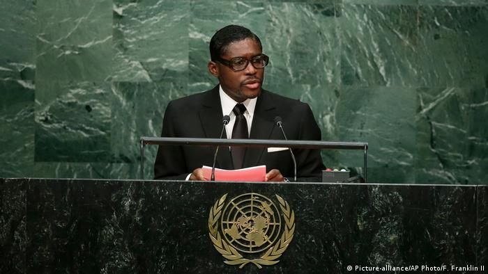 Teodoro Obiang Nguema Mangue addressed the UN General Assembly as his country's vice president in September 2015