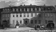 Weimar Goethehaus Stahlstich um 1850
