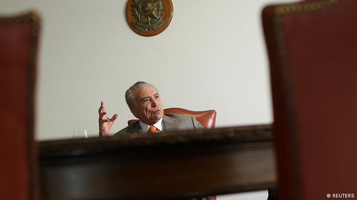Brazil's President Michel Temer, gestures during an interview with Reuters at his office in Brasilia (REUTERS)