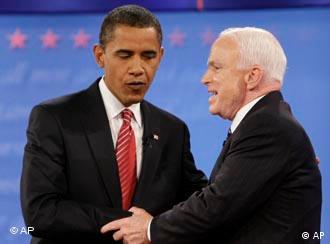 Democratic presidential candidate Sen. Barack Obama, D-Ill., left, and Republican candidate Sen. John McCain, R-Ariz., shake hands at the finish of a presidential debate at Hofstra University in Hempstead, N.Y., Wednesday, Oct. 15, 2008. (AP Photo/J. Scott Applewhite)