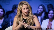 Shakira Mebarak, UNICEF Global Ambassador; Founder, Pies Descalzos Foundation, Colombia speaking at the Annual Meeting 2017 of the World Economic Forum in Davos, January 17, 2017 Copyright by WEF / Jakob Polacsek