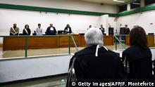 17.01.2017+++ The judges of the Third Court of Rome read the sentence during the trial of South American military officers and civilians accused of collaborating in the forced disappearances and murder of Italian nationals, in a US-backed regional plan dubbed Operation Condor , from the maximum security room of the Rebibbia prison in Rome on January 17, 2017. Italian justice will rule today in the trial of 34 South American military officers and civilians accused of collaborating in the forced disappearances and murder of more than 40 political opponents, including Italian nationals, as part of a US-backed regional plan dubbed Operation Condor during the dictatorships of the Southern Cone in the 1970s and 1980s. / AFP / FILIPPO MONTEFORTE (Photo credit should read FILIPPO MONTEFORTE/AFP/Getty Images)