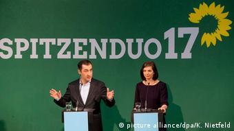 Greens leaders Cem Özdemir and Katrin Göring-Eckardt address supporters