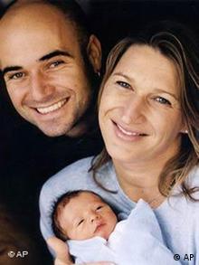 Andre Agassi mit Steffi Graf und Baby Jaden Gil