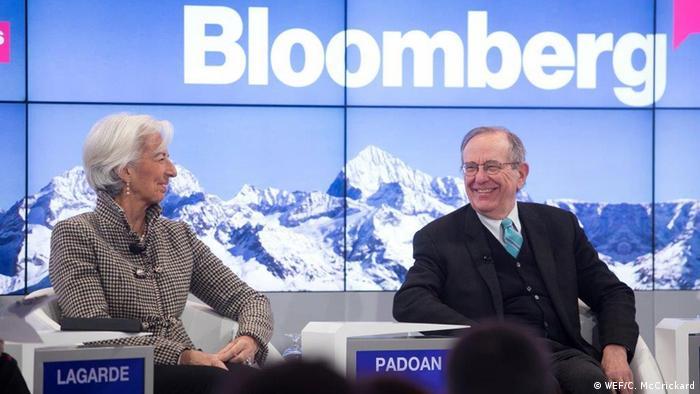 Italien - Bloomberg-Panel auf dem Weltwirtschaftsforum 2017 mit IWF-Chefin Christine Lagarde und Pier Carlo Padoan (WEF/C. McCrickard)