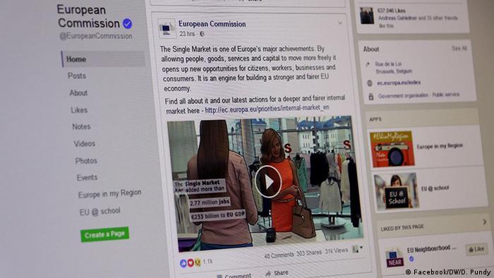 Facebook-Profil der EU-Kommission