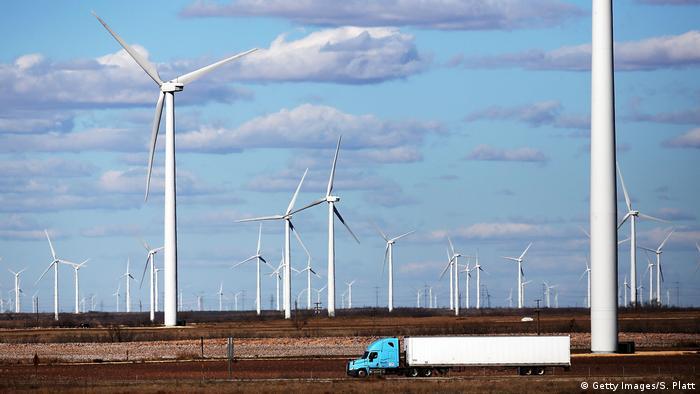 Wind turbines are viewed at a wind farm on January 21, 2016 in Colorado City, Texas