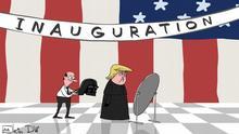 Karikatur von Sergey Elkin - keiner weiß, was man von Trump erwarten soll