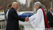 Jan. 20, 2017 Rev Luis Leon greets President-elect Donald Trump and his wife Melania as they arrive for a church service at St. John's Episcopal Church across from the White House in Washington, Friday, Jan. 20, 2017, on Donald Trump's inauguration day. (AP Photo/Alex Brandon)  