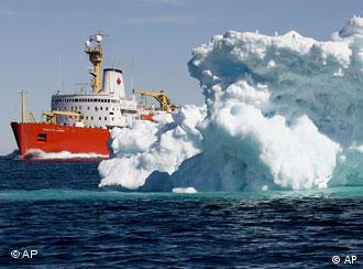 Canadian icebreaker and iceberg