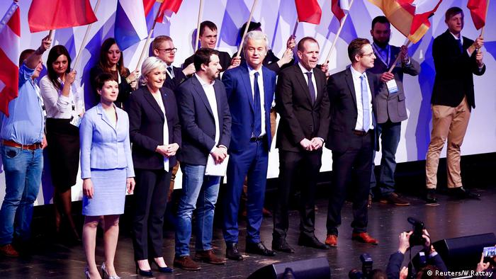 Matteo Salvini with colleagues at the Koblenz meeting of far-right, European leaders in January 2017