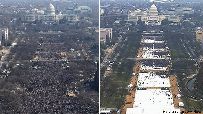 Фотографии с инаугураций Барака Обамы 2009 года (слева) и Дональда Трампа 2017 года (справа)