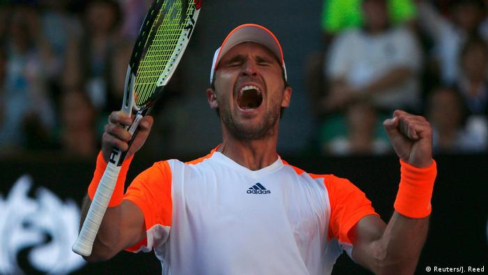 Mischa Zverev celebrates at the Australian Open