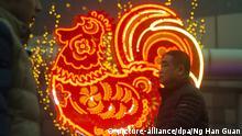 Menschen laufen am 16.01.2017 in Peking (China) an einer Neonreklame in Form eines Feuerhahns vorüber. Am 28.01.2017 beginnt mit dem chinesischen Neujahr das Jahr des Hahnes. Foto: Ng Han Guan/AP/dpa +++(c) dpa - Bildfunk+++  