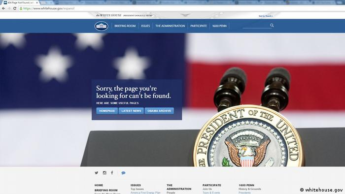 Screenshot Webseite Whitehouse.gov (whitehouse.gov)