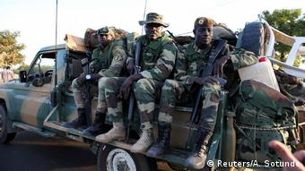 Members of the regional ECOWAS force from Senegal are seen at the Denton check point in Banjul, Gambia