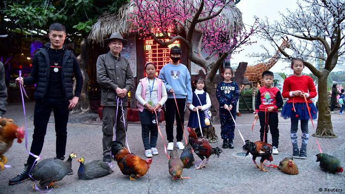 Chinesisches Neujahrsfest 2017 Hühner an der Leine in Shunde (Reuters)