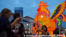 04.01.2017**** - SINGAPORE, Jan. 4, 2017 () -- Photo taken on Jan. 4, 2017 shows that a giant golden rooster lantern lights up for testing in Singapore's Chinatown. Singapore's Chinatown will hold an official light-up ceremony of the new year lanterns on Jan. 7 for the upcoming Chinese Lunar New Year. (/Then Chih Wey) (lrz)  
