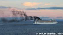 A cruise liner spews out black smoke (NABU/Wattenrat/E. Voss)
