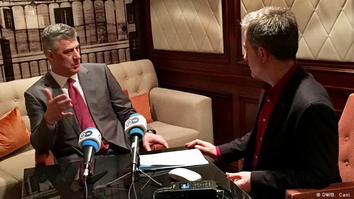 Хашим Тачи во время интервью