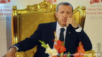 Erdogan auf goldenem Thron (picture-alliance/AP Photo/H. Dridi)