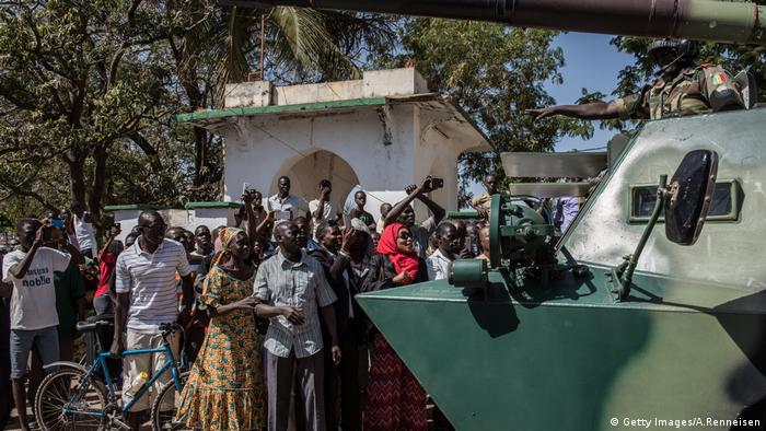 ECOWAS troops in Banjul being greeted by the population