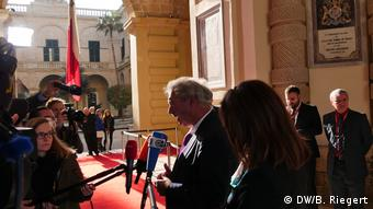 Jean Claude Asselborn speaks to the press in Malta