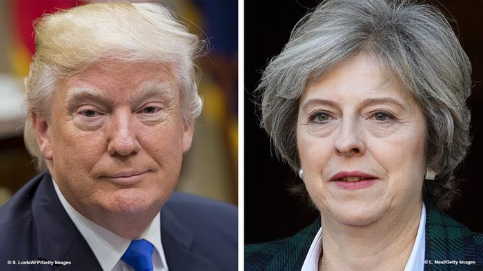 Kombi-Bild Donald Trump Theresa May