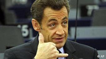 French President Nicolas Sarkozy gestures as he attends a session of the European Parliament in Strasbourg.