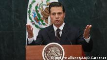 MEXICO CITY, MEXICO - JANUARY 04: President of Mexico Enrique Pena Nieto delivers a speech during a press conference at Los Pinos Presidential Residence in Mexico City, Mexico on January 04, 2017. President Enrique Pena Nieto announced that Luis Videgaray was replacing Claudia Ruiz Massieu as Secretary of Foreign Affairs with the instruction to accelerate dialogue with the US president-elect's team in order to establish constructive relations. Daniel Cardenas / Anadolu Agency   Keine Weitergabe an Wiederverkäufer.
