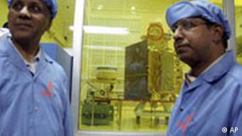 Scientists look at the Chandrayaan 1 spacecraft