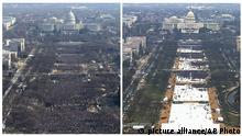 FILE- This pair of photos shows a view of the crowd on the National Mall at the inaugurations of President Barack Obama, above, on Jan. 20, 2009, and President Donald Trump, below, on Jan. 20, 2017. The photo above and the screengrab from video below were both shot shortly before noon from the top of the Washington Monument. On his first full day in office, President Donald Trump called the acting director of the National Park Service to dispute widely circulated photos of Trump's inauguration. (AP Photo, File) |