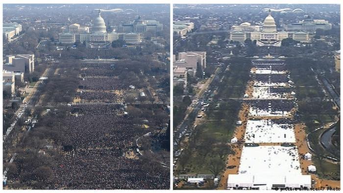 Церемония инаугурации Барака Обамы (слева) и Дональда Трампа (справа), снимки с воздуха