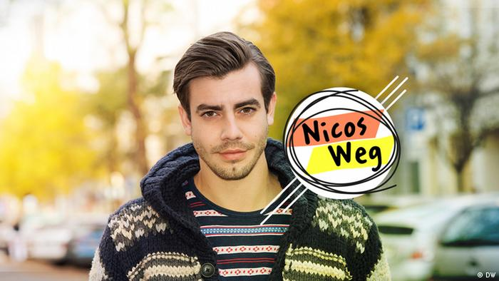 young man and banner that reads Nicos Weg (DW)