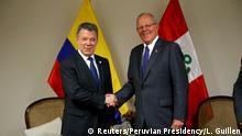 Peruanischer Präsident Pedro Pablo Kuczynski mit Kolumbianischem Präsidenten Juan Manuel Santos in Arequipa bei Peru-Kolumbien-Gipfel