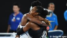 MELBOURNE, AUSTRALIA - JANUARY 28: Serena Williams of the United States is congratulated by Venus Williams of the United States after winning the Women's Singles Final match against on day 13 of the 2017 Australian Open at Melbourne Park on January 28, 2017 in Melbourne, Australia. (Photo by Quinn Rooney/Getty Images)