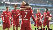Football Soccer - Werder Bremen v FC Bayern Munich - German Bundesliga - Weserstadion, Bremen, Germany - 28/01/17 - Munich's Arjen Robben celebrates with Franck Ribery after he scored against Bremen REUTERS/Fabian Bimmer TPX IMAGES OF THE DAY DFL RULES TO LIMIT THE ONLINE USAGE DURING MATCH TIME TO 15 PICTURES PER GAME. IMAGE SEQUENCES TO SIMULATE VIDEO IS NOT ALLOWED AT ANY TIME. FOR FURTHER QUERIES PLEASE CONTACT DFL DIRECTLY AT + 49 69 650050.