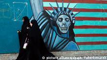 Iran Verhältnis USA Symbol Graffitti