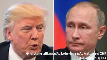 ARCHIV - Die Bildkombo zeigt den künftigen US-Präsidenten Donald Trump (l, Foto vom 14.12.2016) und den russischen Präsidenten Wladimir Putin (Foto vom 19.12.2016). (zu dpa Gespräch von Trump und Putin für diesen Samstag geplant vom 27.01.2017) Foto: A. Lohr-Jones/A. Astafyev/CNP POOL/Sputnik/dpa +++(c) dpa - Bildfunk+++ |