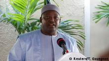 Gambia's President Adama Barrow speaks during a news conference in his residence in Banjul, Gambia January 28, 2017. REUTERS/Thierry Gouegnon
