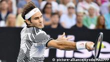 ©Kyodo/MAXPPP - 29/01/2017 ; Roger Federer of Switzerland plays Rafael Nadal of Spain in the men's singles final at the Australian Open tennis tournament in Melbourne on Jan. 29, 2017. (Kyodo) ==Kyodo |