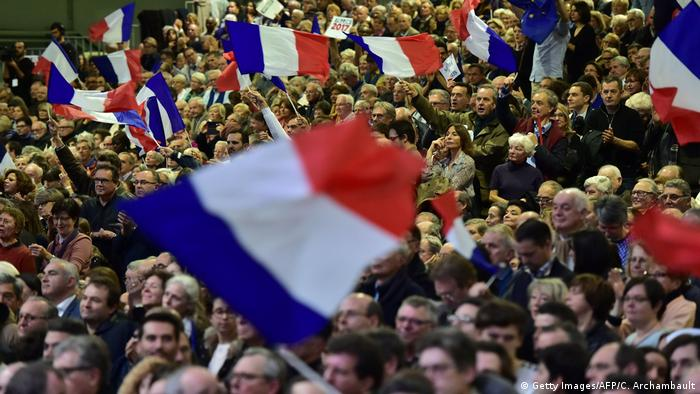 Supporters of Francois Fillon at a Paris rally for him
