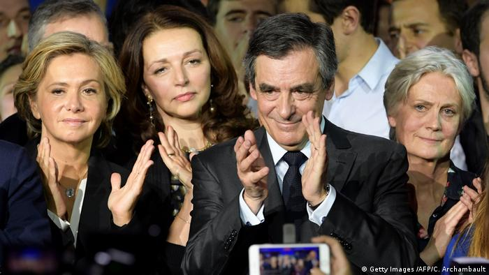 Francois Fillon at a campaign rally with his wife, Penelope Fillon