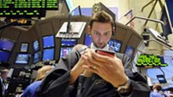 A wide-eyed trader at the New York Stock Exchange