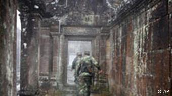 Cambodian soldiers patrol at the Preah Vihear temple near the Thai-Cambodian border