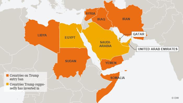 Infografik Karte Trump: Einreisestopp für Bürger aus sieben Ländern englisch