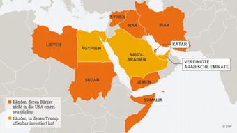 Infografik Karte Trump: Einreisestopp für Bürger aus sieben Ländern Deutsch