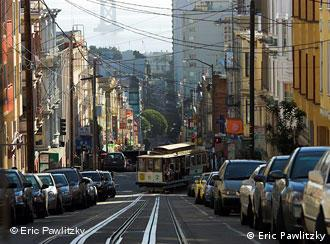 A cable car on a San Francisco street