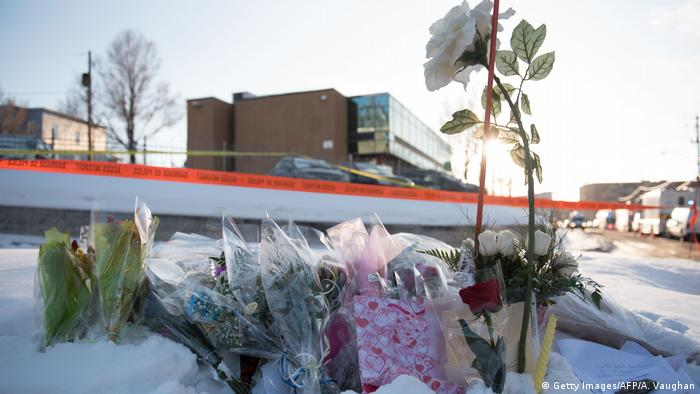 Flowers at a makeshift memorial near the Islamic Cultural Center in Quebec City